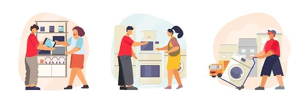 Conjunto de loja de eletrodomésticos de três ilustrações