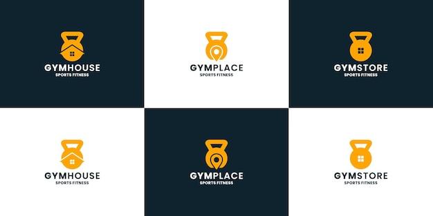 Conjunto de loja de fitness de academia e elemento de design de logotipo de localização de estúdio para esportes de ginástica