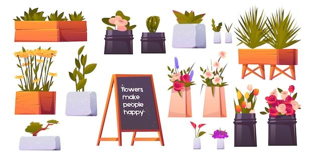 Conjunto de loja de flores, vasos de plantas e bonsai isolado