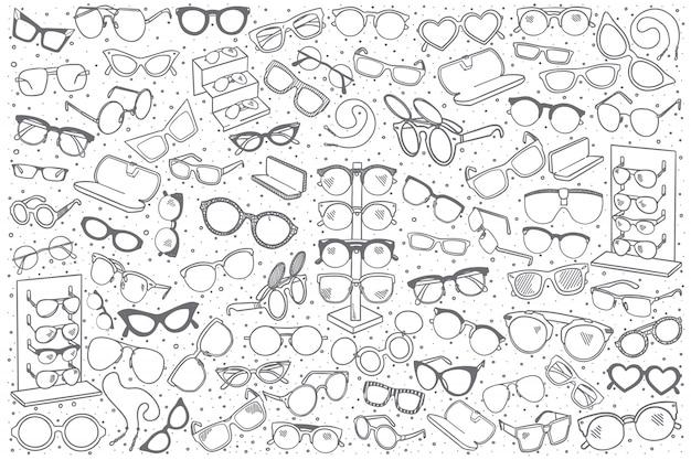 Conjunto de loja de óculos mão desenhada