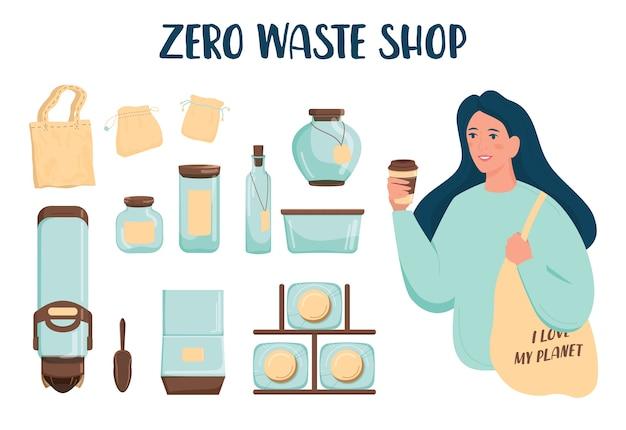 Conjunto de loja de resíduos zero. distribuidor para produtos a granel, jarra de vidro e bolsa têxtil. venda de produtos por peso. mercearia sem embalagem de plástico. em branco.