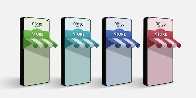 Conjunto de lojas online em forma de smartphone 3d conceito de compras online no site e no aplicativo Vetor Premium