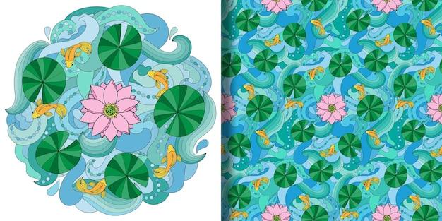 Conjunto de lótus e peixes em impressão de ondas e padrão sem emenda papel de parede têxtil e impressão de camisetas