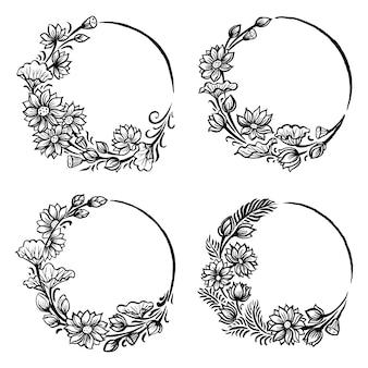 Conjunto de lotus round floral, escova ilustração.
