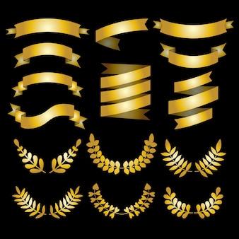 Conjunto de louros dourados de luxo, coroas e fitas.