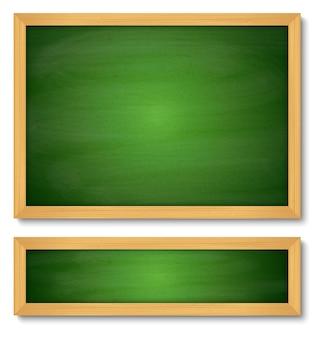 Conjunto de lousa verde de madeira.