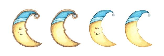 Conjunto de lua crescente de cookies de rosto sorriso na bebida. mão-extraídas aquarela biscoitos deliciosos. ilustração de comida.