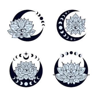 Conjunto de luas crescentes e flores de lótus.