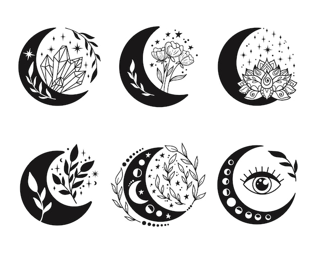 Conjunto de luas crescentes florais.