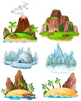 Conjunto de lugares em diferentes épocas