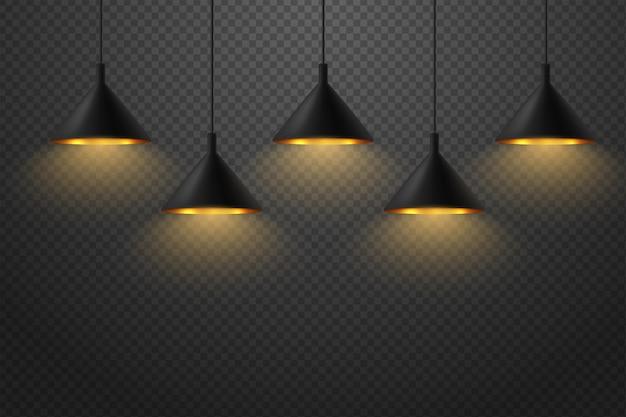 Conjunto de luminária de teto moderno com abajur preta