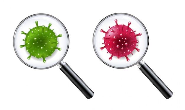Conjunto de lupas com coronavírus isolado