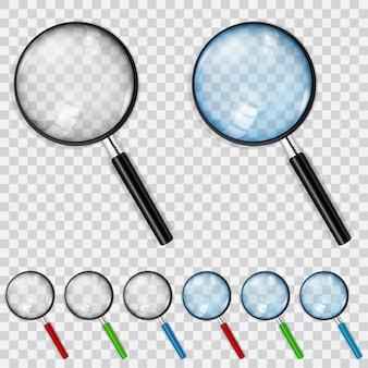 Conjunto de lupas com óculos transparentes e azuis claros e alças multicoloridas