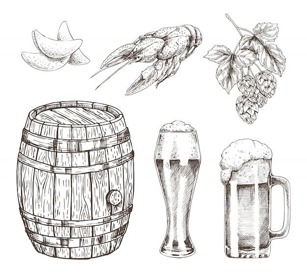 Conjunto de lúpulo e lanche de cerveja