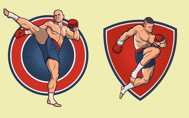 Conjunto de lutador tailandês de muay. as luvas