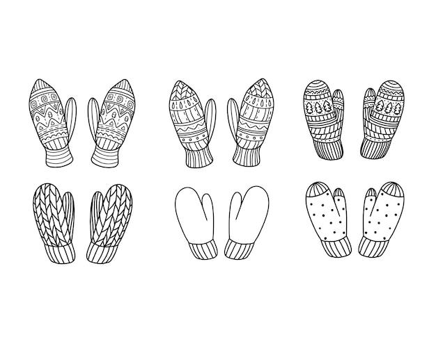Conjunto de luvas de malha em estilo doodle