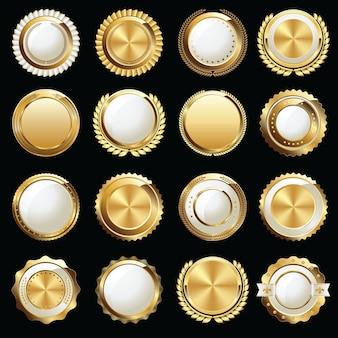 Conjunto de luxo com emblema dourado e branco