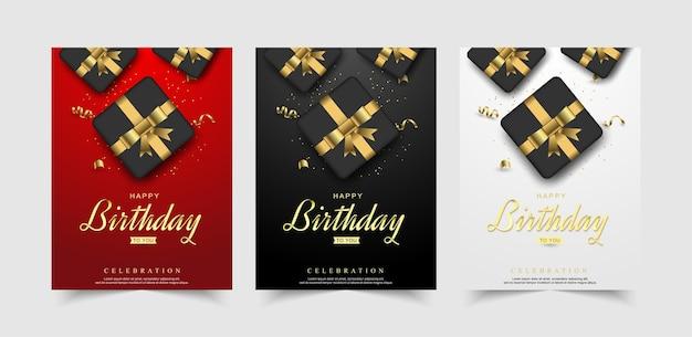 Conjunto de luxo de celebração de feliz aniversário com caixa de presente realista.