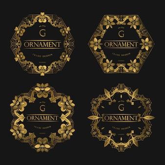 Conjunto de luxo de moldura dourada