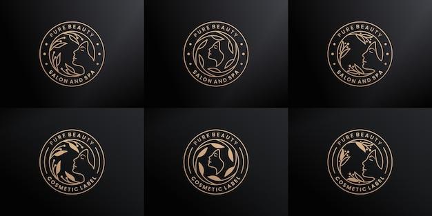 Conjunto de luxo distintivo feminino, salão de beleza, spa, cosmético, design de logotipo da moda com cor dourada