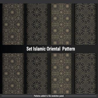 Conjunto de luxo islâmico oriental padrão de fundo