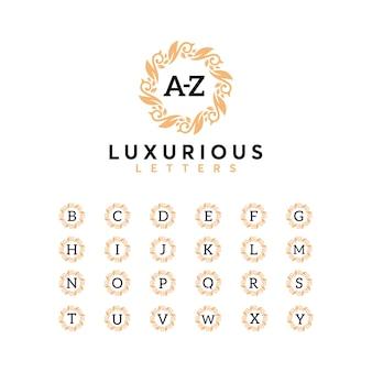 Conjunto de luxo letra az logo designtemplate