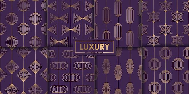 Conjunto de luxo roxo padrão geométrico sem emenda