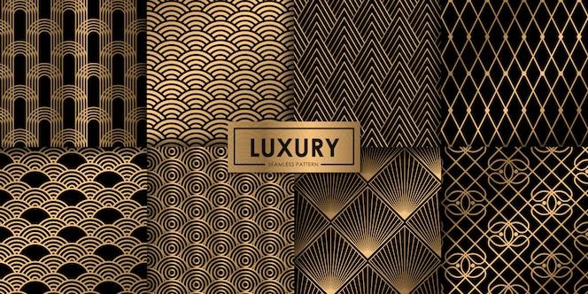 Conjunto de luxo sem costura padrão geométrico de ouro