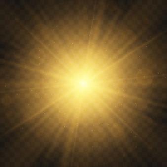 Conjunto de luz amarela brilhante explode em um fundo transparente partículas de poeira mágica cintilante. estrela estourou com brilhos. glitter dourado estrela brilhante. sol brilhante e transparente, flash brilhante