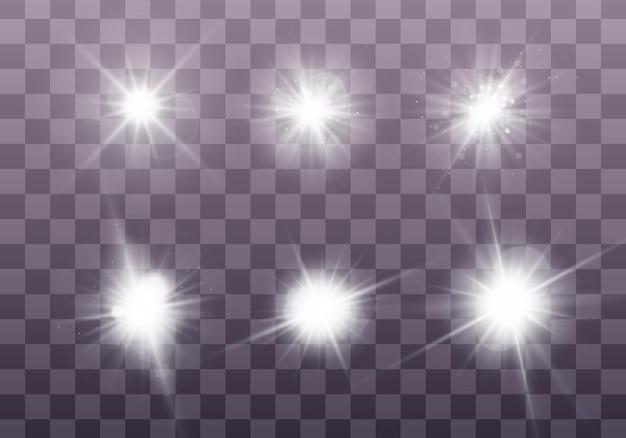 Conjunto de luz branca brilhante