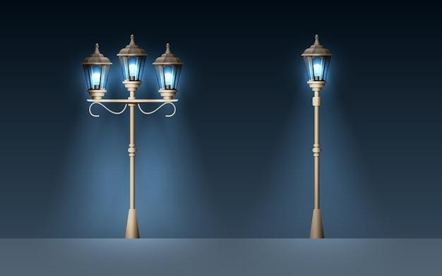 Conjunto de luz de rua velha.