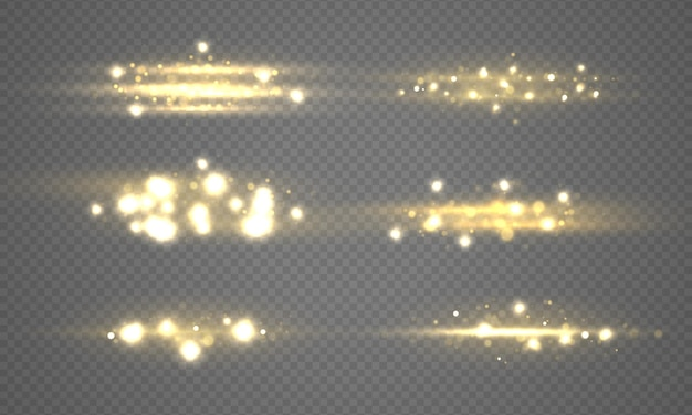 Conjunto de luzes brilhantes bokeh