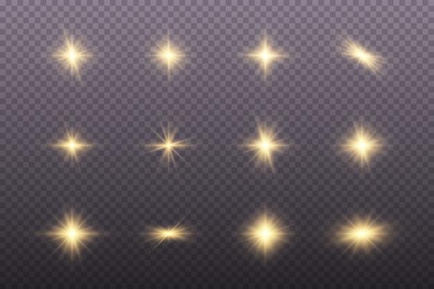 Conjunto de luzes brilhantes douradas