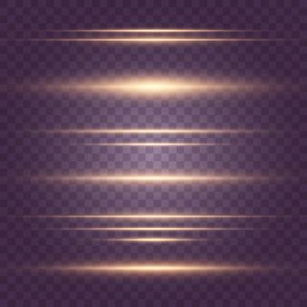 Conjunto de luzes brilhos. pacote de reflexos de lente horizontal. feixes de laser, raios de luz horizontais, linhas.