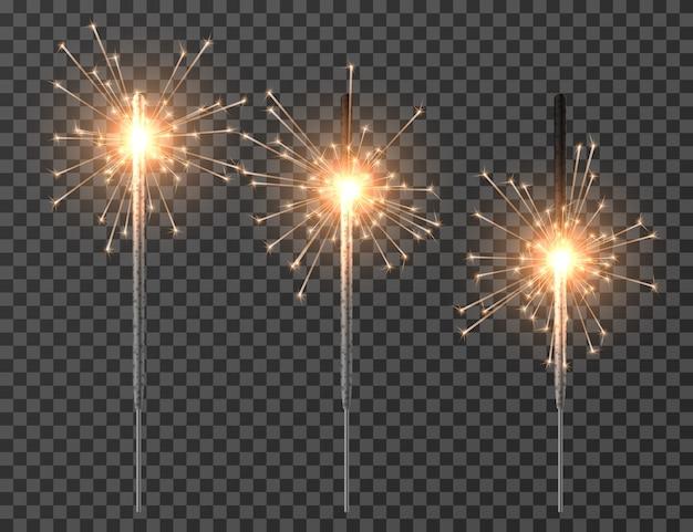Conjunto de luzes de festa flare realista. sparkler, fogo de artifício e brilho, ilustração iluminada a queimar brilho