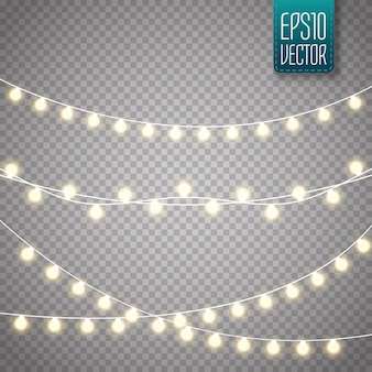 Conjunto de luzes de natal. ano novo vetor decorar guirlanda com lâmpadas brilhantes.