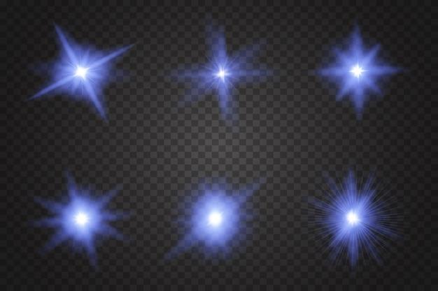 Conjunto de luzes de neon azuis.