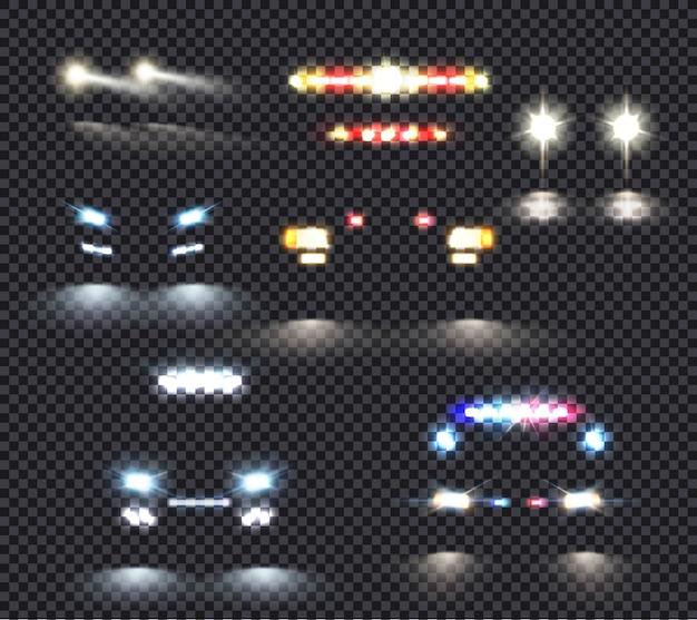 Conjunto de luzes do carro