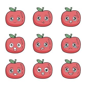 Conjunto de maçã com emoções diferentes