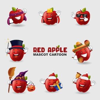 Conjunto de maçã mascote em várias poses