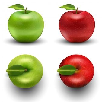 Conjunto de maçã verde e vermelho