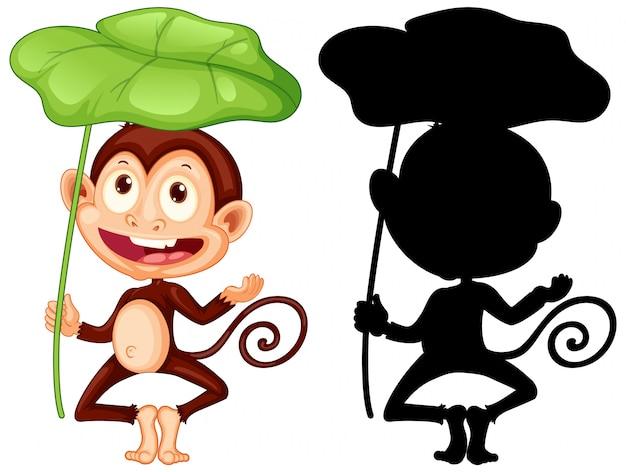 Conjunto de macaco segurando a folha e sua silhueta