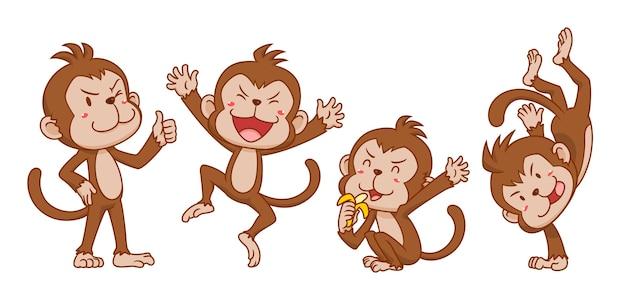 Conjunto de macacos bonito dos desenhos animados em poses diferentes.