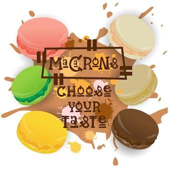 Conjunto de macarons coleção de sobremesas colorido escolha seu cartaz de cafe sabor