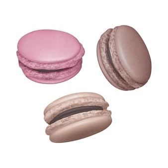 Conjunto de macarons com recheio de chocolate em ângulos diferentes, macaroons franceses em fundo branco, ilustração