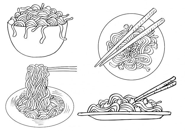 Conjunto de macarrão de doodle