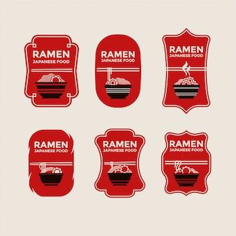 Conjunto de macarrão japonês ou emblemas ramen