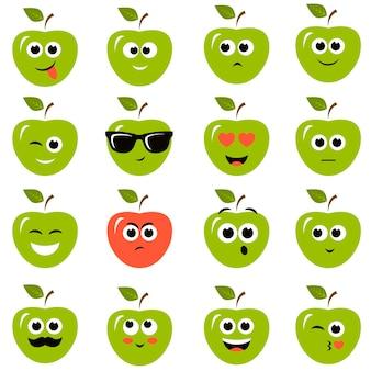 Conjunto de maçãs com emoções diferentes