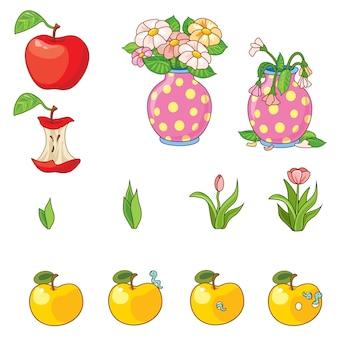 Conjunto de maçãs e flores.
