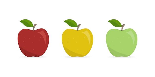 Conjunto de maçãs fruta apetitosa.